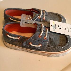NWT Denim and Orange Boys Boat Shoes
